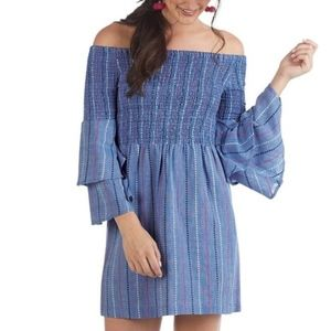 NWT Off-The-shoulder Smocked Chambray Dress